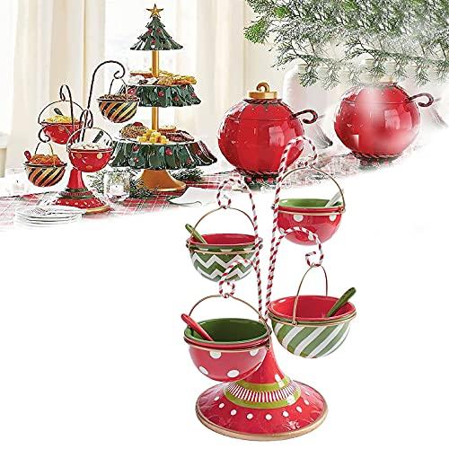 Be Merry Snack Bowl, suporte para servir lanches de Natal, estilo peculiar para bufê ou mesa, suporte para lanche de quatro tigelas, pratos de frutas para decorações de Natal e festa de Halloween (tigela B)