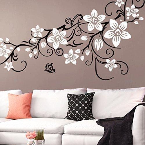 Grandora W5391 Wandtattoo 2-farbige Blumenranke mit Schmetterling Wohnzimmer Schlafzimmer türkis (BxH) 151 x 58 cm