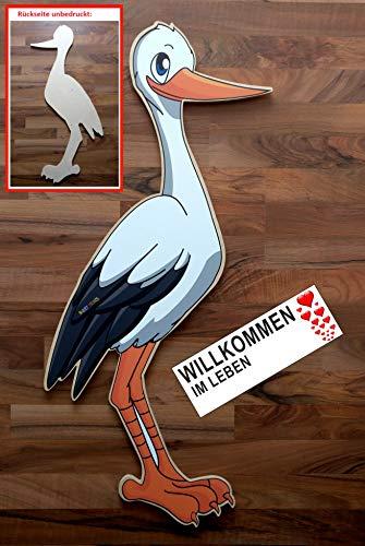 95 cm Babystorch aus HOLZ & Beschriftungstafel für draußen Geburt Storch-Holz Klapperstorch Holzstorch (EINSEITIG bedruckt, 95x45 cm)