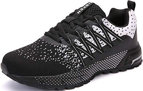 SOLLOMENSI Zapatillas de Deporte Hombres Mujer Running Zapatos para Correr Gimnasio Sneakers Deportivas Padel Transpirables Casual Montaña 43 EU H Negro Blanco