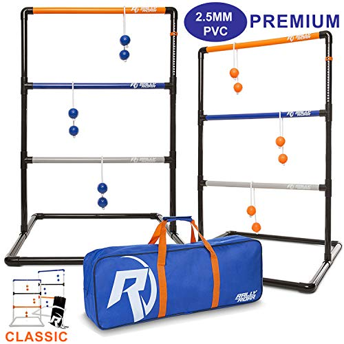 Rally and Roar Ladder Ball Toss Game for Adults, Family - Fun Golf Game Set with Six Colored Bolos, Scoreboard, and Carrying Bag - Outdoor Yard Games and Activities for Backyard, Tailgating, Parties