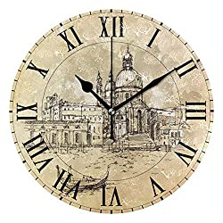 ALAZA Vintage Italian Venice Round Acrylic Wall Clock, Silent Non Ticking Oil Painting Home Office School Decorative Clock Art