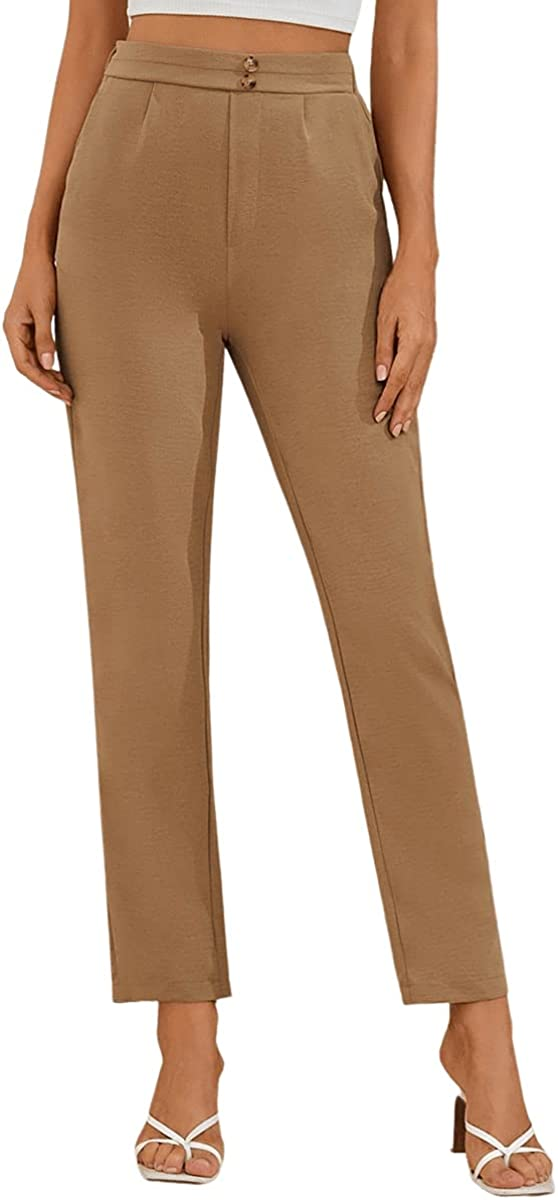 SweatyRocks Women's High Elastic Waist Office Solid Slant Pocket Pants