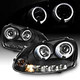 For VW Rabbit GTI Jetta R32 Black Bezel Halo DRL LED Strip Halogen Type Projector Headlights
