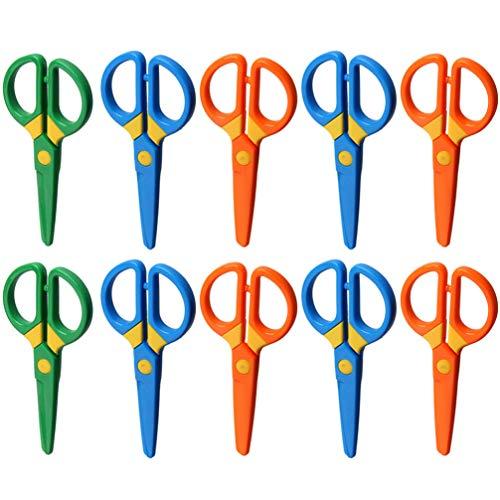 EXCEART Tijeras de Punta Roma de Plástico de Tijera Hecha a Mano de 10 Piezas para Niños Pequeños Actividades Artesanales de Bricolaje (Color Aleatorio)