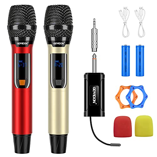 Wireless Karaoke Microphone for Singing, Rechargeable Dynamic Mic & Mini Receiver for Karaoke Machine/Audio Mixer/DJ/Party Speaker/Pa System/Voice Amplifier, Music Gift for Adults Kids, Red+ Gold