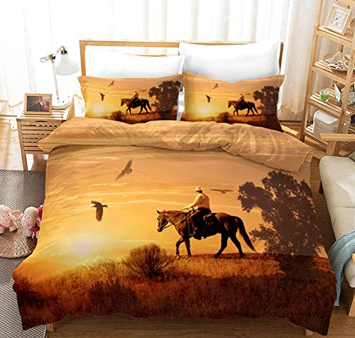 PANDAWDD Duvet Quilt Cover Set - Yellow 3D Sunset Cowboy/220X260cm Easy Care Cotton Blend Bedding Bedroom Decor Set | 1 Quilt Cover + 2 Pillow Cases | Anti-Allergic Duvet Cover For Kids And Adults