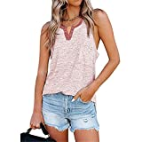 Camisola Mujer Tops Moda Sexy Verano Cuello Redondo Mujer Blusa Chic Exquisit Trend Botones Bolsillo Sin Mangas Diseño Daily Casual Loose Transpirable All-Match Mujer T-Shirt C-Red XL