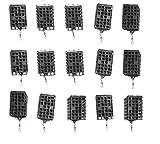 15 Stück Futterkorb Metall Feeder Angler Köder Korb Gewicht 25g eckig schwarz