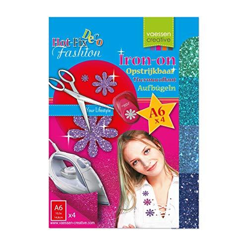 Vaessen Creative Hot-Fix Glitter-Transferfolie, blau 14,8 x 10,5 cm x 4 Bögen, Plastic, Multicolor, 14.8 x 10.5 x 0.1 cm, 4-Einheiten