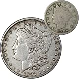 1897 Morgan Dollar VF Very Fine 90% Silver Coin with 1906 Liberty Nickel G Good