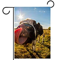 ガーデンサイン庭の装飾屋外バナー垂直旗面白い牛の舌のカントリーサイドグリーン オールシーズンダブルレイヤー