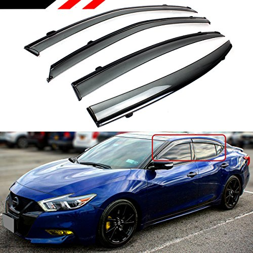 Cuztom Tuning Premium VIP JDM Clip-on Type Smoke Tinted Window Visor with Black Trim Compatible with 2016-2021 Nissan Maxima All Models