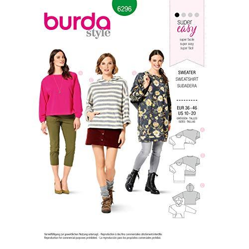Burda Schnittmuster 6296, Sweater [Damen 36-46] zum selber nähen, ideal für Anfänger [L1]