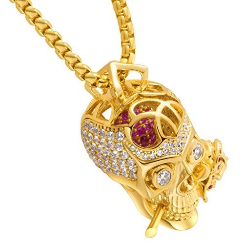 Karseer Faithful Love & Rose Skull Pendant Necklace with Crystal Brain Hidden Inside, Infinite Fantasy Gift for Men and Women (Gold)