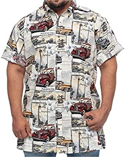 Harbor Bay Big and Tall Classic Vintage Car Printed Short Sleeve Shirt for Men