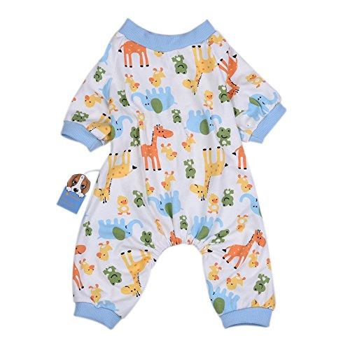 Molie Ropa para Mascotas, Perros Pijamas Elefante Ciervos patrón algodón Pijamas Mono Perro