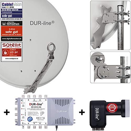 DUR-line 8 Teilnehmer Set - Qualitäts-Alu-Satelliten-Komplettanlage - Select 75cm/80cm Spiegel/Schüssel Hellgrau + Multischalter + LNB - für 8 Receiver/TV [Neuste Technik, DVB-S2, 4K, 3D]