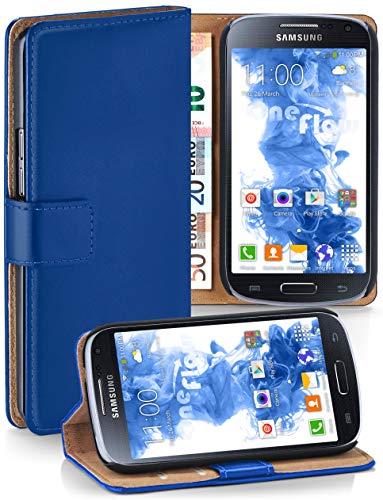 moex Premium Handytasche kompatibel mit Samsung Galaxy S4 - Klapphülle mit Kartenfach und Ständer, magnetische Handy Tasche - Flip Case Schutzhülle, Dunkel-Blau