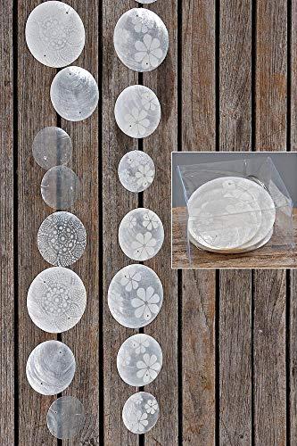Zimmergirlande, Dekogirlande Capiz aus runden Elementen, weiß/Silber, Sortiert, 1 Stück, Länge ca. 180 cm