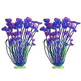 guangruiorrty 2 piezas de grandes plantas acuáticas decoración de plástico artificial plantas de agua ornamentos decoración de acuario plantas de plástico