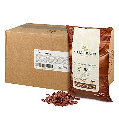 Callebaut 823 Milk Chocolate Callets - 44 LBS Belgian Baking Chocolate Callets - Min 30.2% Cocoa butter, 4.9% fat free cocoa, 6% Milk fat, 15.8% Fat free milk - Recipe 823NV-595 - 44 Lbs (20 kg)