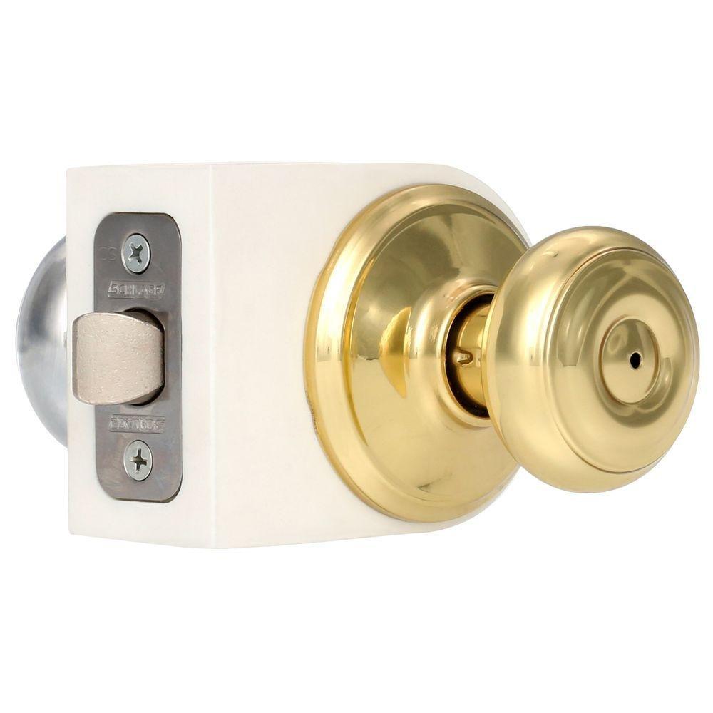 Bright Brass Schlage F40GEO Georgian Privacy Knob