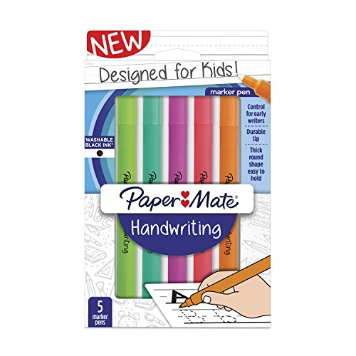 Paper Mate Handwriting Round Pens, Washable Black Ink, Fun Barrel Colors, 5 Count (2017526)