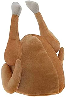 BinaryABC Thanksgiving Plush Turkey Hat,Roasted Turkey Hats,Thanksgiving Day Costume Party Accessory (Brown)
