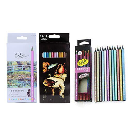 MSEKKO 12 lápices de Colores metálicos no tóxicos para Dibujar bocetos de papelería determinada