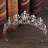 Felaaca Accesorios para el Cabello Nupcial, Exquisita Corona de Diamantes de imitación de Bronce Casco Nupcial Accesorios para el Vestido de Novia Corona