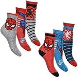 Spiderman 6er Pack Jungen Socken Strümpfe mit vielen verschiedenen Muster & Designs (Spiderman Mix 5, Schuhgröße EUR 23-26)