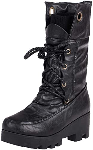femmes Ladies Martin bottes Plat épais avec Talon Heels Lacet jusqu'à Lacets de Combat armée Bottes de Cheville,noir,43EU