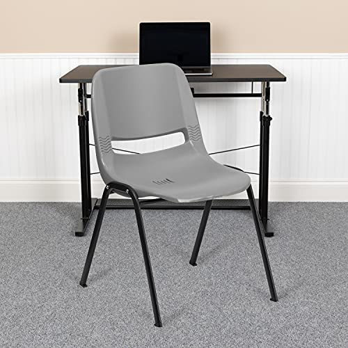 Flash Furniture 5 Pack HERCULES Series 880 lb. Capacity Gray Ergonomic Shell Stack Chair with Black Frame