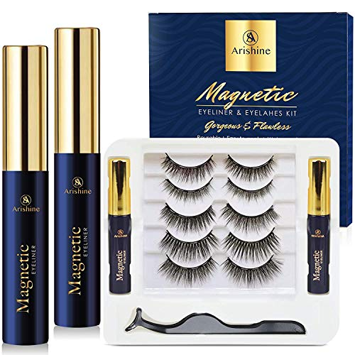 5 Pairs Reusable Magnetic Eyelashes and 2 Tubes of Magnetic Eyeliner Kit, Upgraded 3D Magnetic...
