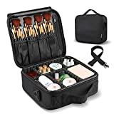 LOMEZI Travel Makeup Train Case Makeup Bag Cosmetic Bag Organizer for Women Organizer Portable Storage Bag with Shoulder Strap Adjustable Dividers for Makeup Brushes Toiletry Travel Accessories