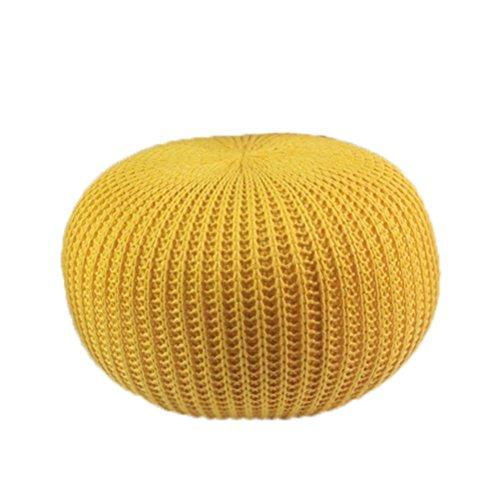 Taburete Trenzado Hecho a Mano Doble Hecho a Mano Redondo del Taburete del pie del algodón Puf (Color : Yellow)