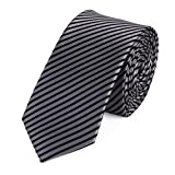Fabio Farini Gestreifte Krawatte 6cm Breite in verschiedenen Farben für Büro Verein Hochzeit Weihnachten silber grau schwarz