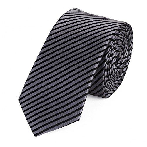 Fabio Farini - Krawatte gestreift in 6cm Breite in verschiedenen Farben für Büro Verein Hochzeit Weihnachten Silber Schwarz
