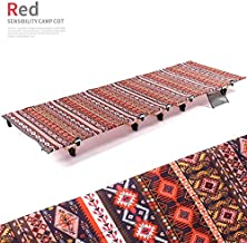 JXSHQS Portable Folding Bed Outdoor Camping Bed Aluminum Alloy Single Accompanying Lunch Break Beach Camping Simple Camp Bed Folding Bed (Color : Red)