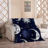 Sun and Moon Mystery Blanket,Plush and Warm Home Soft Cozy Light Weight Fuzzy Throw Blankets for Couch Bed Sofa,Sun Moon and Stars Space Night Sky A Magical FAI,50'x60'