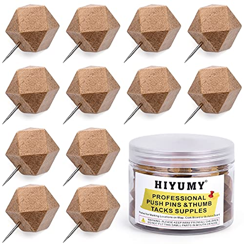 HIYUMY Wood Push Pins, Decorative Wooden Thumb Tacks for Home Office Cork Bullet in Boards Map Craft Projects Picture Calendar Photos (50 Pieces)