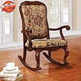 ZMIHANNA New Upgrade & Stronger Rocking Chair for Adults Old People Elderly, Luxury Solid Wood Rocker with Thicken Fabric Padded Seat & Back for Indoor Living Room Bedroom (Up to 400 lbs) (Cherry)