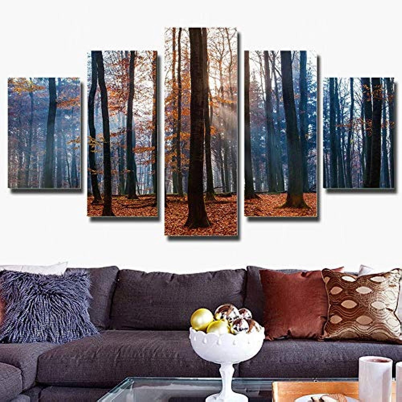 más orden GUDOJK He Decor Decor Decor LivingArt 5 Panel Modular con Enmarcado Otoo árbol Impreso Pintura sobre Lienzo Cuadro de Parojo Bosque Paisaje Cartel 20x35 20x4520x55cm  respuestas rápidas