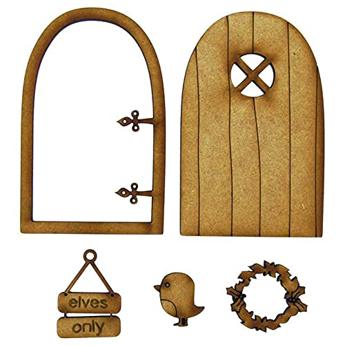 LIDABAO Fairy Tale Wooden Door Decoration Kit Doll House Miniature Furniture 3D DIY Crafts Ornament for Outdoor Courtyard