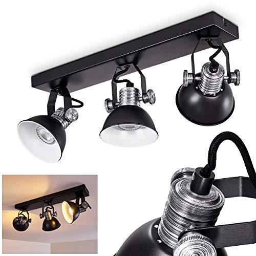 Plafondlamp Gudo, dimbare metalen plafondlamp in zwart/wit, 3-vlam, lampenkap draait en draait, 3 x GU10 stopcontact, max. 7 Watt, spot in retrodesign, geschikt voor LED-lampen