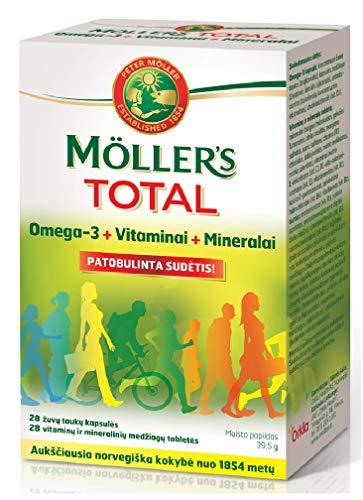 Möller's Total Omega-3 Vitamine & Mineralien 28/28 Kapseln Höchste Norwegische Qualität Vitamins & Minerals