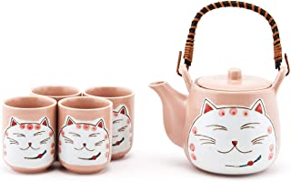 Happy Sales HSTS-LKFCPK, Japanese Style Lucky Cat Fortune Cat Maneki Neko Porcelain Tea Set Teapot with Strainer, Rattan Handle and 4 Tea Cups, Pink
