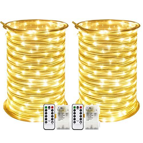RcStarry 2 Stück Batterie LED Lichtschlauch Außen 100 LEDs 10 Meter IP68 Wasserdicht 8 Modi mit Fernbedienung und Timer DIY Dekoration für Weihnachten, Garten, Hochzeit - Warmweiß