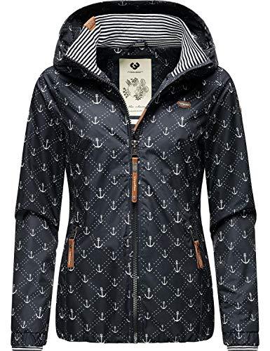 Ragwear Damen Übergangs-Jacke Regenjacke mit Kapuze Dizzie Marina Navy Gr. S
